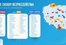 Aktualna lista powiatów objętych dodatkowymi obostrzeniami (żółtymi i czerwonymi). Zmiany będą obowiązywać od soboty (03.10).