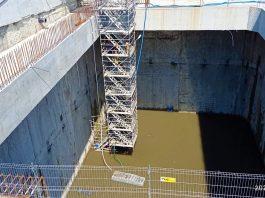 Zalanie komory końcowej na budowie tunelu pod Świną